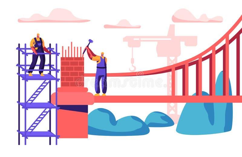 Byggmästare Man Building Bridge med tegelstenar Grupp av teknikern Build Gate med hammaren Arbetare i hjälmtankeskapelsen som s stock illustrationer