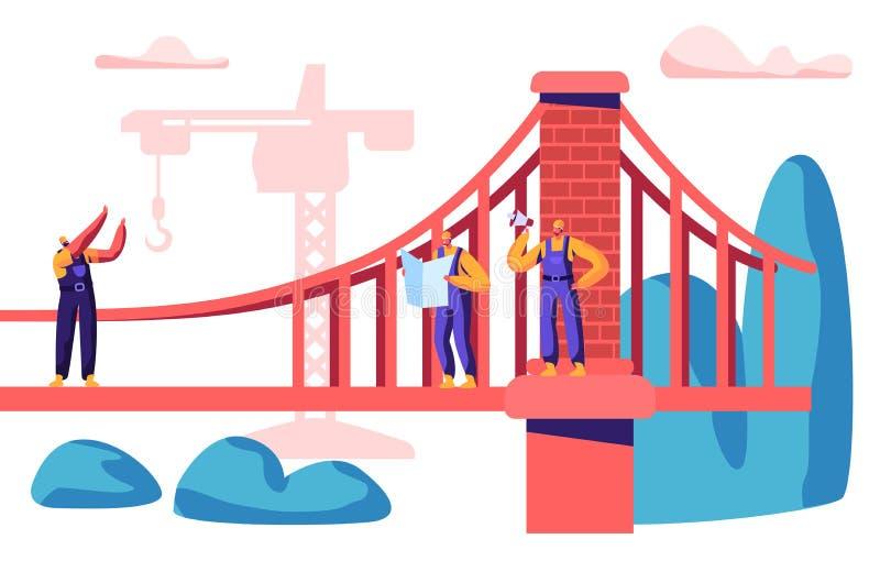 Byggmästare och tekniker Build Bridge med konstruktionskranen Grupp av anställdbyggnadsporten med tegelsten Arbetarprojekt royaltyfri illustrationer