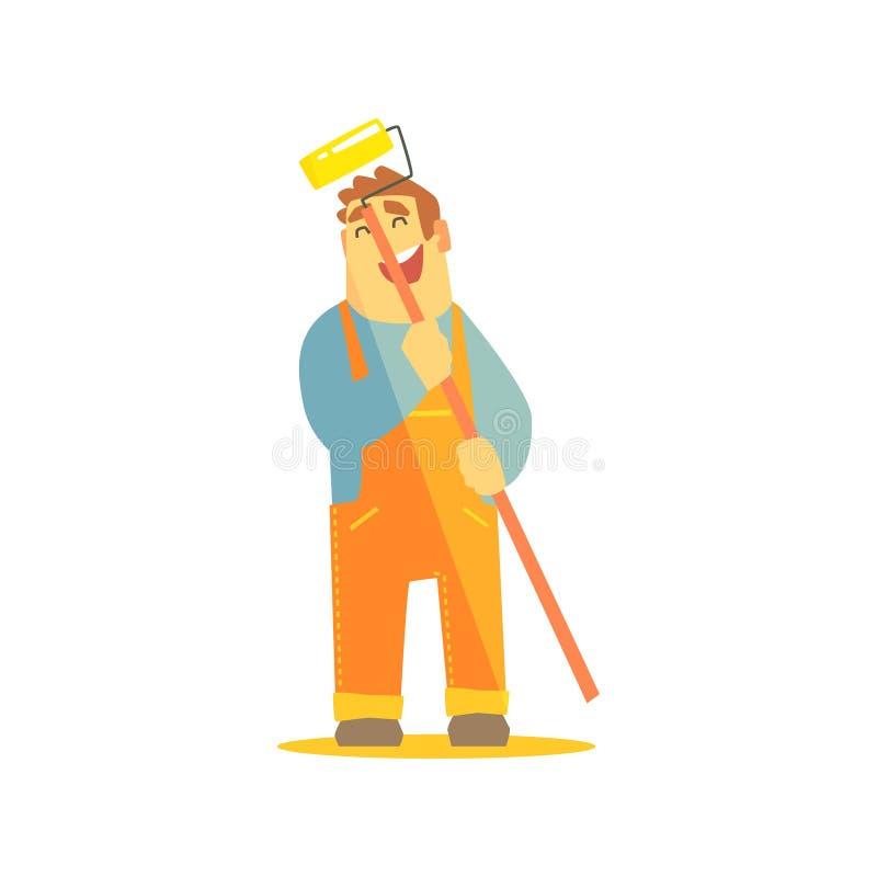 Byggmästare With Painting Roll på konstruktionsplats royaltyfri illustrationer