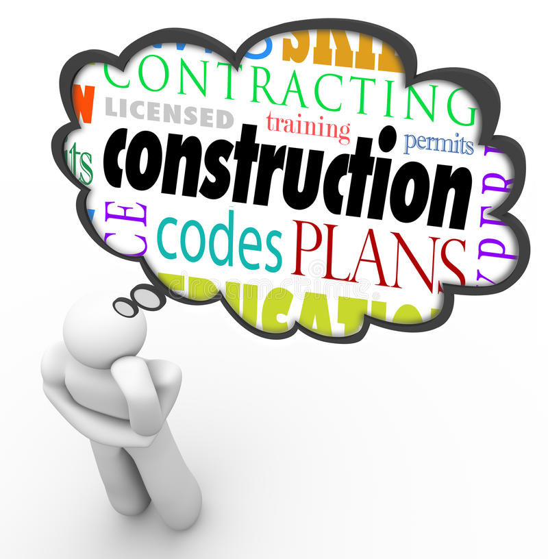 Byggmästare Words Thought Cloud Thi för kod för konstruktionslicenstillstånd royaltyfri illustrationer