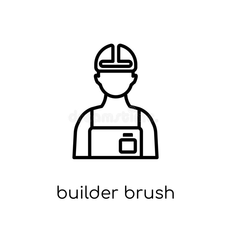 byggmästareBrush symbol Moderiktig modern plan linjär vektorbyggmästare Bru royaltyfri illustrationer