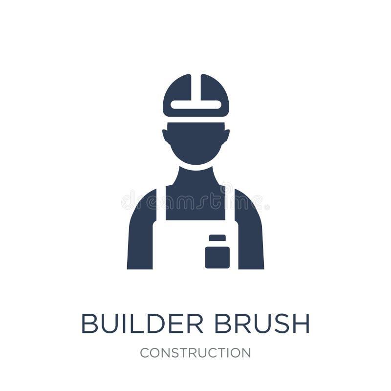 byggmästareBrush symbol Moderiktig plan vektorbyggmästareBrush symbol på whi royaltyfri illustrationer