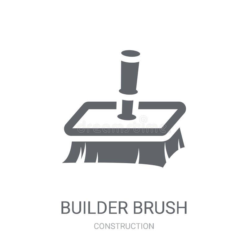 byggmästareBrush symbol Moderiktigt begrepp för byggmästareBrush logo på vitt b stock illustrationer