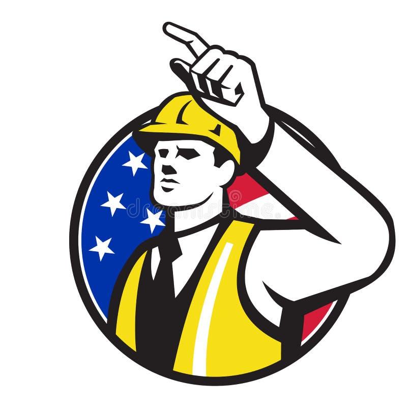 Byggmästarebyggnadsarbetare Engineer Pointing royaltyfri illustrationer