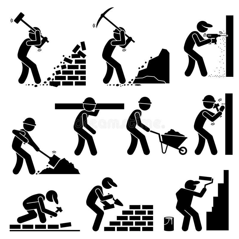 Byggmästarekonstruktörarbetare som bygger hus Clipart royaltyfri illustrationer