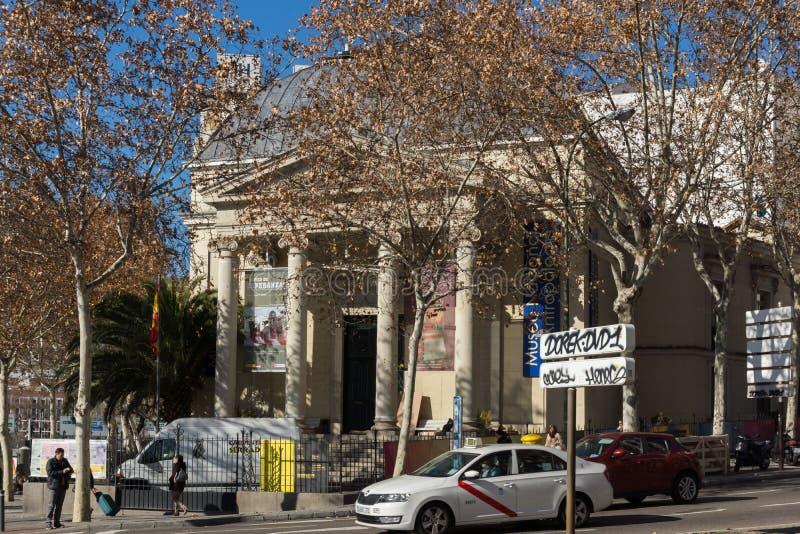 Byggnad av antropologimuseet i stad av Madrid, Spanien arkivfoton