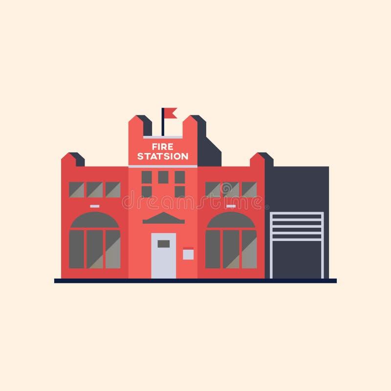 Byggnad av brandstationen royaltyfri illustrationer