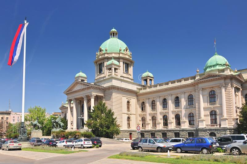 Byggnad av den serbiska nationella parlamentet i Belgrade arkivfoton