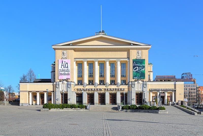 Byggnad av den Tammerfors teatern, Finland royaltyfria foton