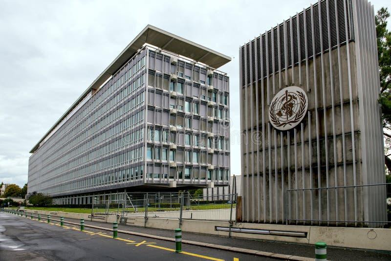 Byggnad av världshälsoorganisationen & x28en; WHO& x29; i Genève Schweiz arkivfoto