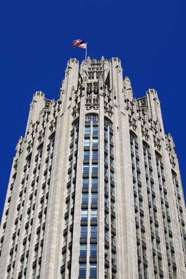 byggnad Chicago Tribune arkivfoto