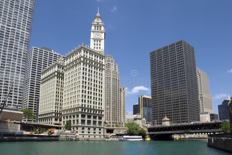 byggnad chicago wrigley arkivbilder