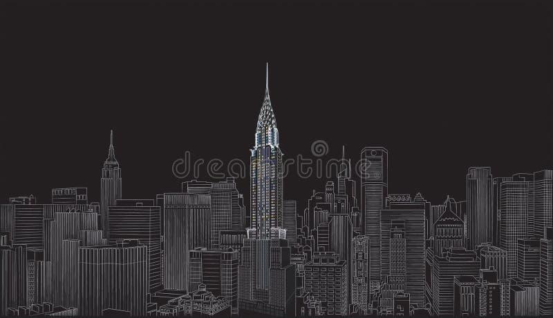 byggnad chrysler royaltyfri illustrationer