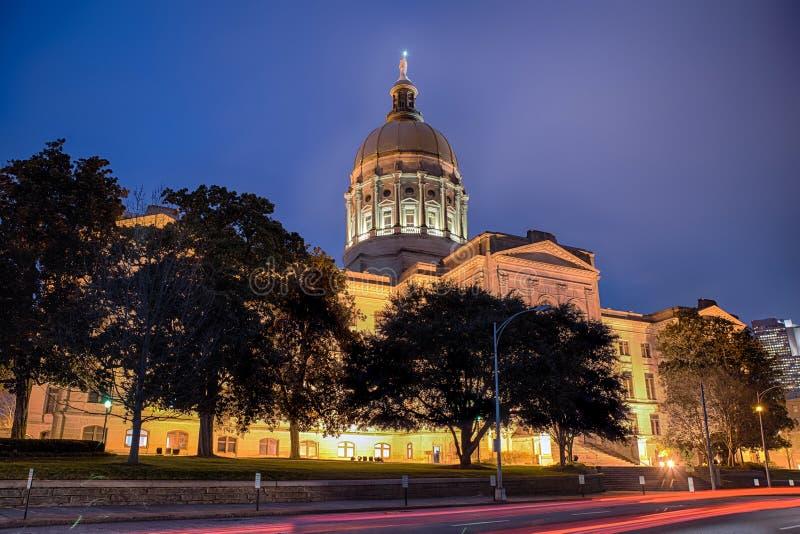 Byggnad för Georgia statcapitol i Atlanta arkivbild