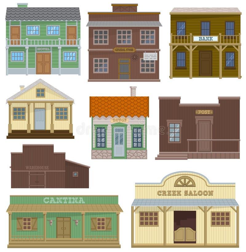 Byggnad för hus för salongvektorn inhyser bommar för lös västra och västra cowboyer eller i uppsättning för gataillustration vilt vektor illustrationer