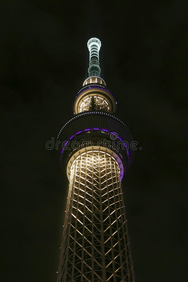 Byggnad för Japan Tokyo skytreetorn på natten fotografering för bildbyråer