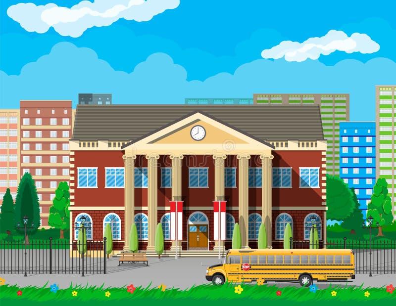 Byggnad för klassisk skola och cityscape vektor illustrationer