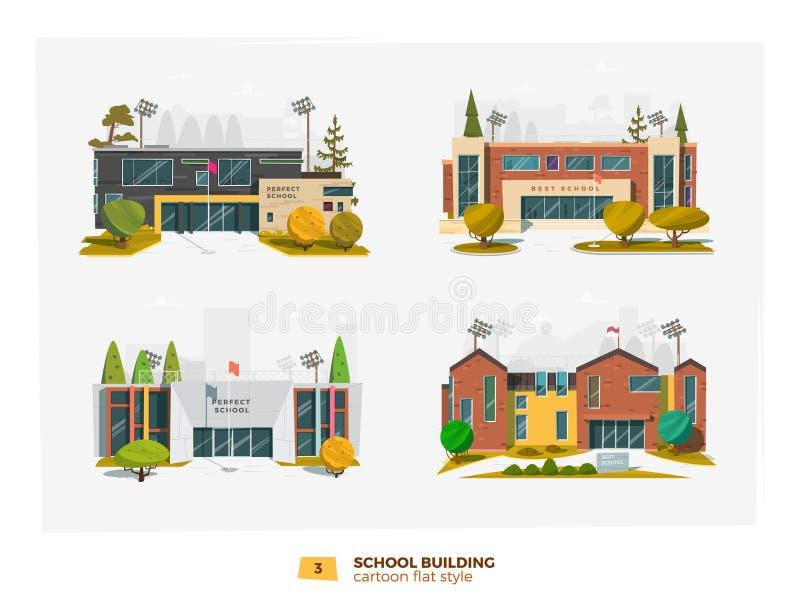 Byggnad för skola fyra stock illustrationer