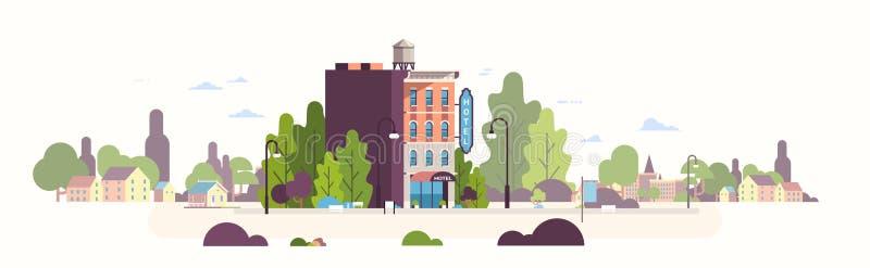 Byggnad för vandrarhem för modernt hotellhus yttre för baner för bakgrund för cityscape för affärsfasadlandskap plant horisontal vektor illustrationer