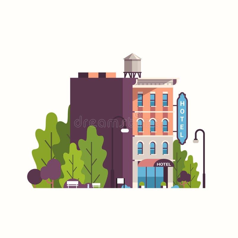 Byggnad för vandrarhem för modernt hotellhus yttre för lägenhet för bakgrund för affärsfasadlandskap stock illustrationer