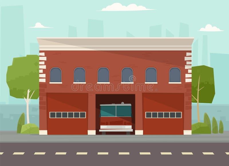 Byggnad för vektor för brandstation vektor illustrationer