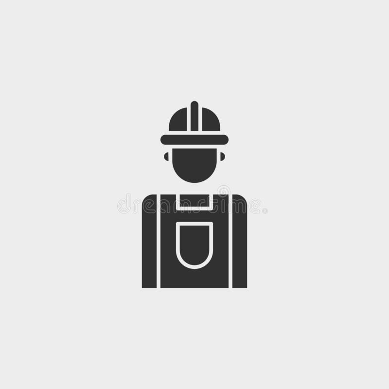 Byggnad konstruktion, bransch, arbetare, symbol, plan illustration isolerat vektorteckensymbol - vektor för konstruktionshjälpmed stock illustrationer