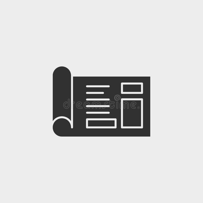 Byggnad konstruktion, bransch, ritning, symbol, plan illustration isolerat vektorteckensymbol - vektor för konstruktionshjälpmede stock illustrationer