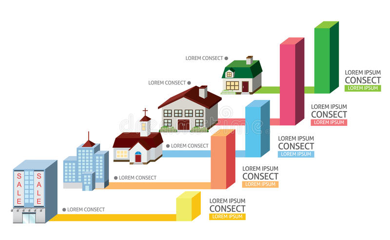 Byggnad med diagrammet stock illustrationer