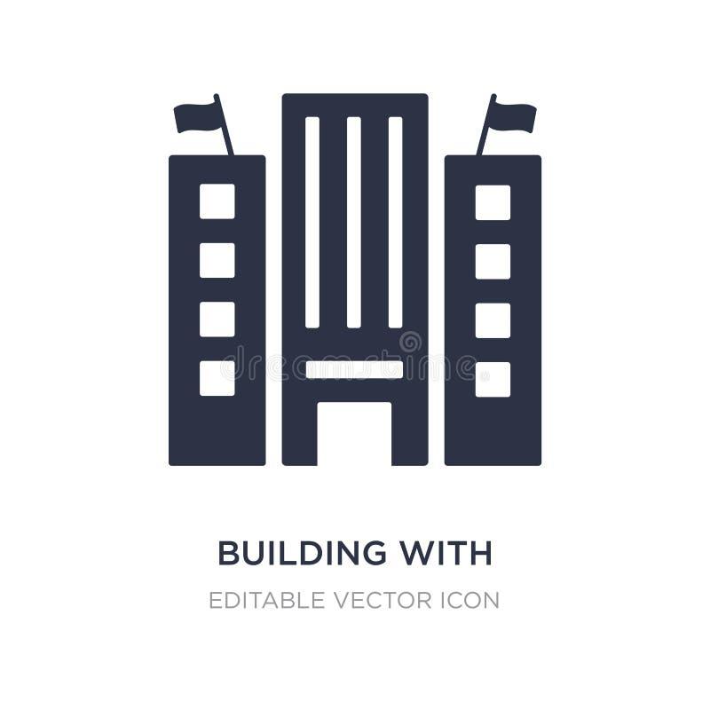 byggnad med symbolen för två flaggor på vit bakgrund Enkel beståndsdelillustration från byggnadsbegrepp vektor illustrationer