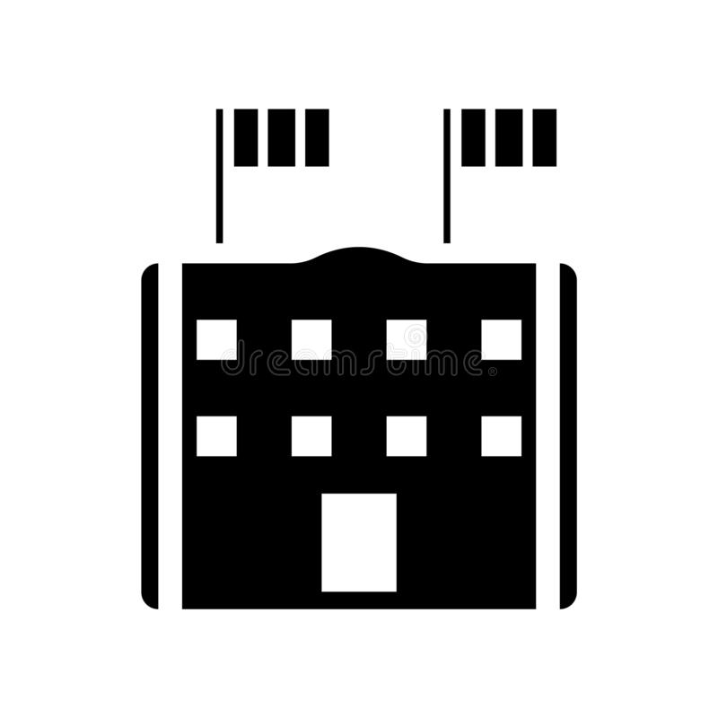 Byggnad med symbolsvektorn för två flaggor som isoleras på vit bakgrund som bygger med tecknet för två flaggor, konstruktionssymb vektor illustrationer