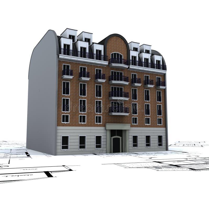 byggnad planerar bostads royaltyfri illustrationer