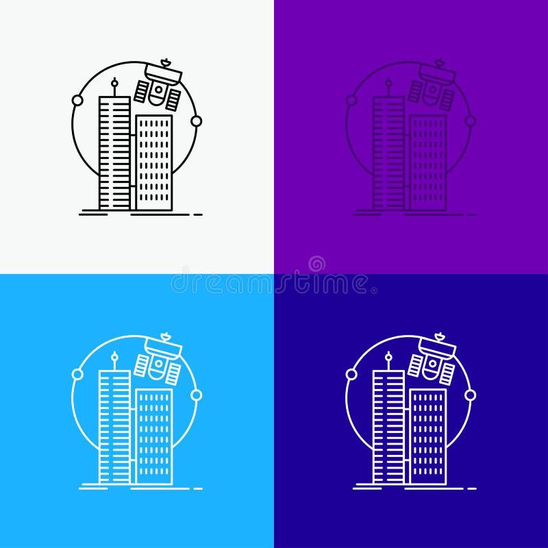 byggnad smart stad, teknologi, satellit, korporationssymbol över olik bakgrund Linje stildesign som planl?ggs f?r reng?ringsduk o vektor illustrationer