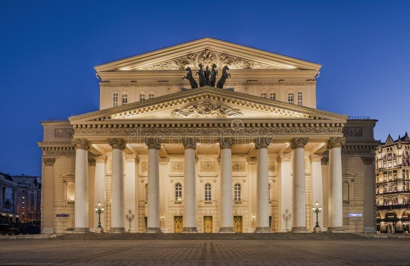 Byggnaden av den Bolshoi teatern i Moskva på natten royaltyfri bild