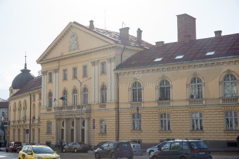 Byggnaden av den bulgariska akademin av vetenskaper i Sofia arkivbild