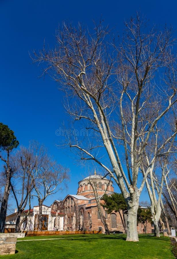 Byggnaden av den bysantinska kyrkan av St Irene i Istanbul, Turkiet royaltyfria bilder
