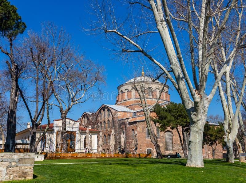 Byggnaden av den bysantinska kyrkan av St Irene i Istanbul, Turkiet arkivfoton