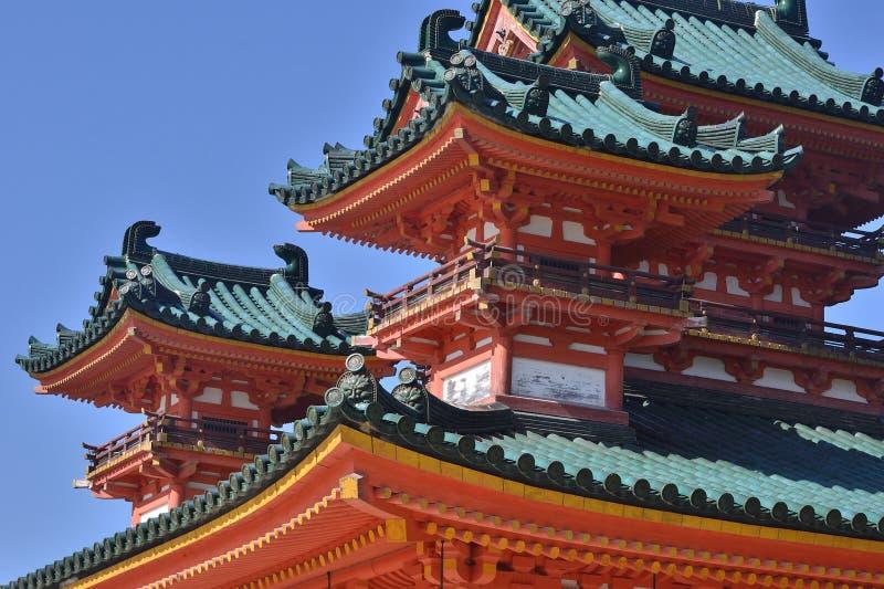 Byggnaden av den Heian relikskrin, Kyoto Japan royaltyfri foto