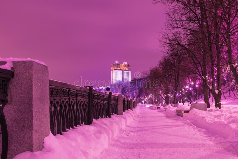 Byggnaden av den ryska akademin av vetenskaper i Moskva i den molniga vinteraftonen eller natten, sikt från invallningen av M arkivfoton
