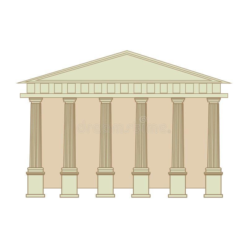 Byggnaden av gammalgrekiskan och Roman Temple med kolonner Isolerad plan vektorillustration för tecknad film royaltyfri illustrationer