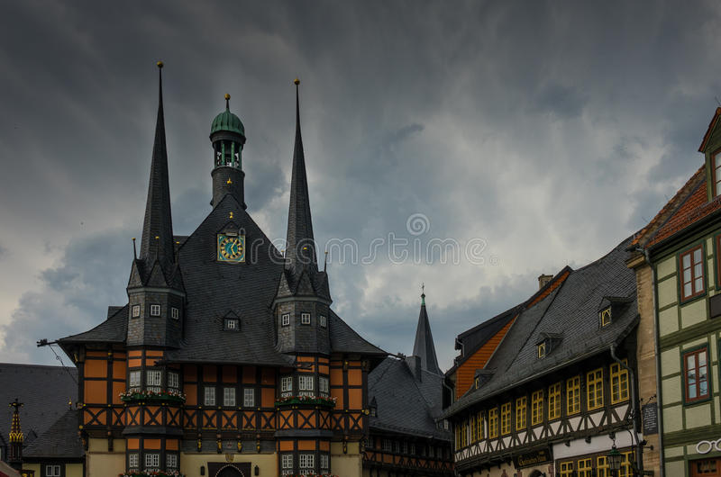 Byggnaden av stadshuset av Wernigerode, Tyskland royaltyfria bilder
