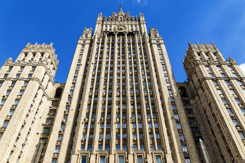 Byggnaden av Utrikesdepartementet av ryssen F royaltyfri fotografi
