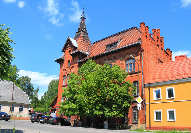 Byggnaden för röd tegelsten av kommendants kontor royaltyfria foton