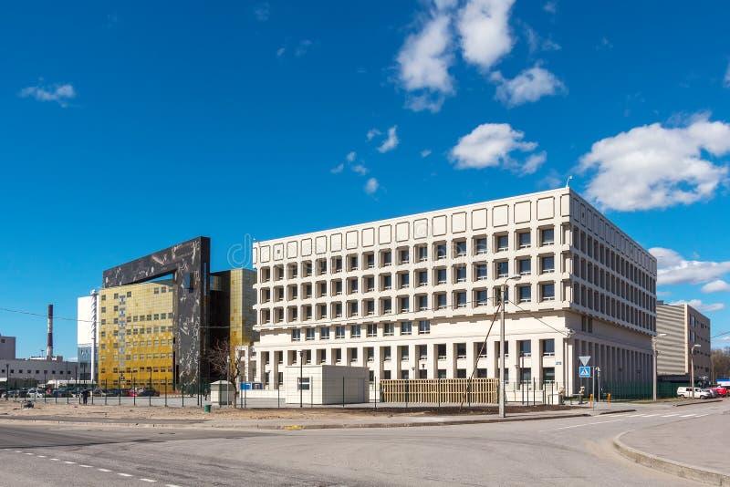 Byggnader av återställande- och lagringsmitten av den statliga `en för eremitboningmuseum i St Petersburg arkivfoto