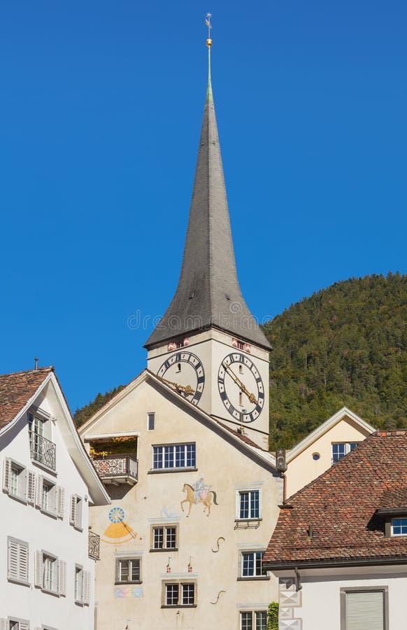 Byggnader av den historiska delen av staden av Chur, Schweiz royaltyfri fotografi