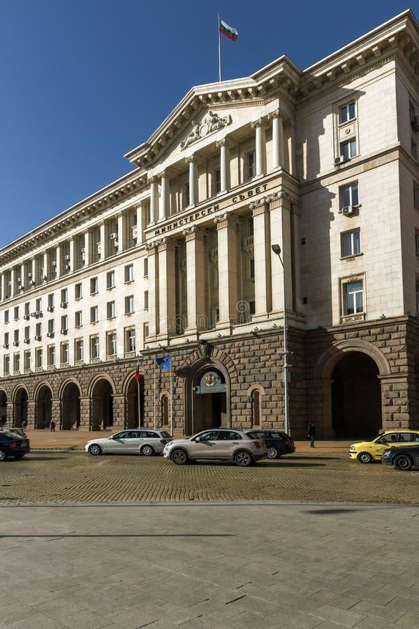 Byggnader av rådet av ministrar i stad av Sofia, Bulgarien royaltyfri bild