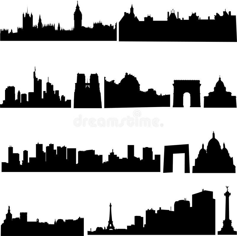 byggnader berömda france s vektor illustrationer