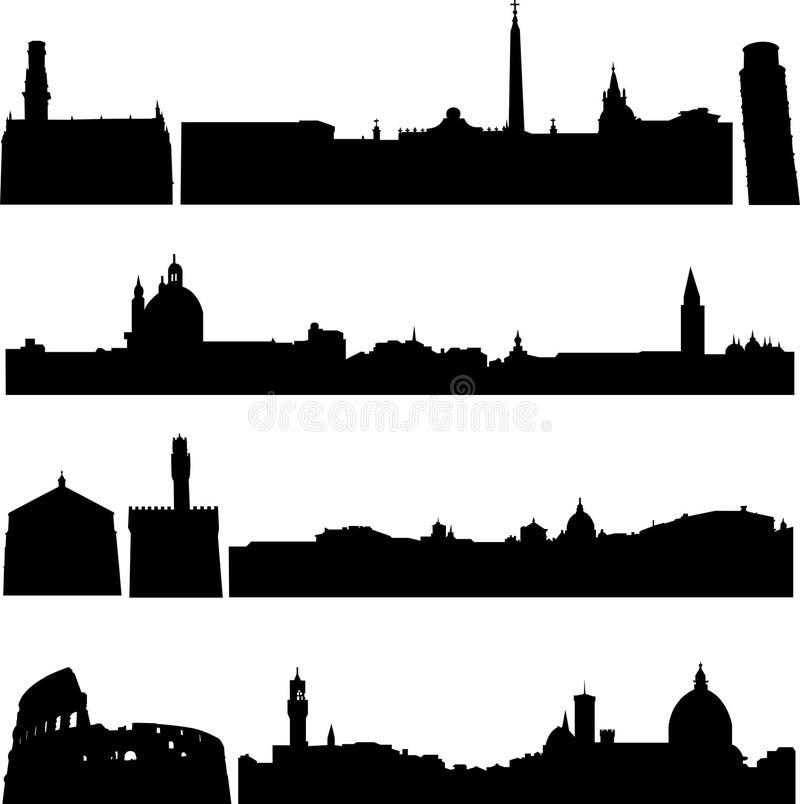 byggnader berömda italy s stock illustrationer