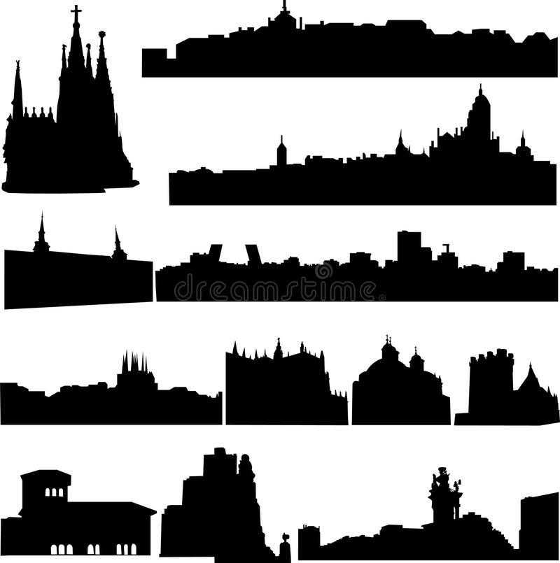 byggnader berömdt s spain stock illustrationer