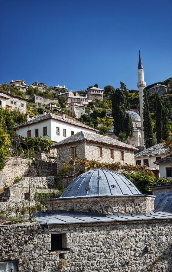 Byggnader för arkitektur för Pocitelj by traditionella gamla i Bosni fotografering för bildbyråer