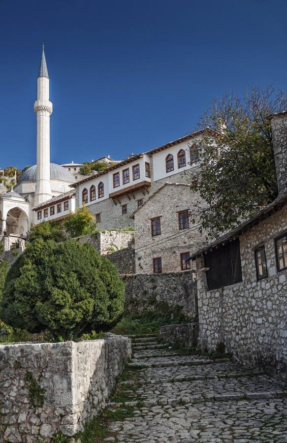 Byggnader för arkitektur för Pocitelj by traditionella gamla i Bosni arkivbilder